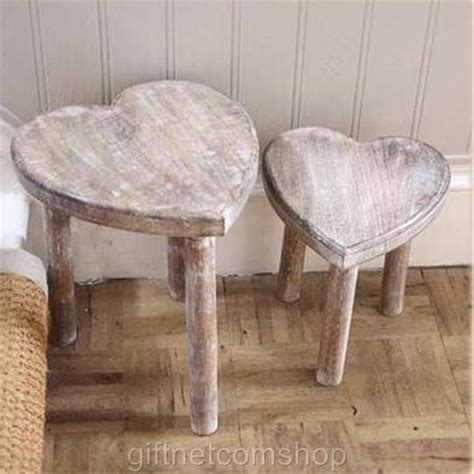 New Two Wooden Heart Stools Shabby Chic Style Heart Nest