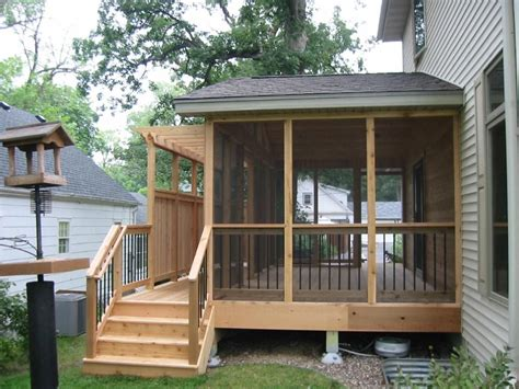small screened in back porch ideas with natural wooden and