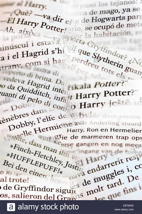 Detail from pages of foreign Harry Potter books - Czech