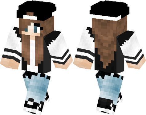 Cute Varsity Jacket Girl with Cool Hat | Minecraft Skin