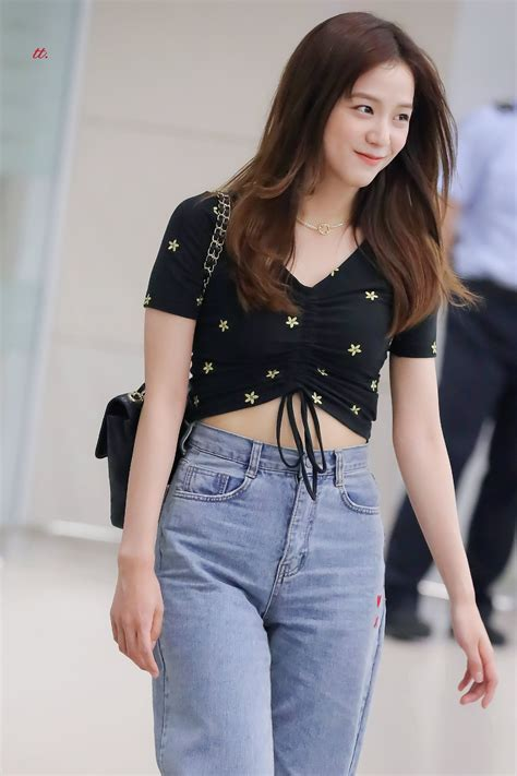 Center Drawstring Flower Embroidery Top | Jisoo