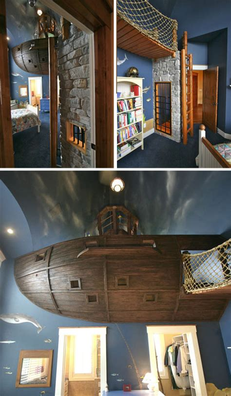 Kids Bedroom Features Floating Pirate Ship   Designs